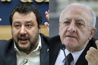 """Coronavirus, Salvini risponde a De Luca che critica la Lombardia: """"Fa schifo, ride dei morti"""""""