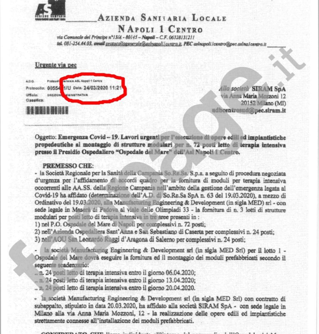 La mail inviata dall'Asl Napoli 1 alla Siram il 24 marzo a