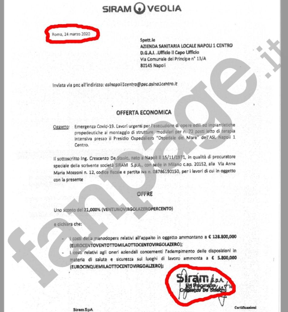 La risposta di Siram alla Asl Napoli 1 appena due ore dopo la richiesta di offerta