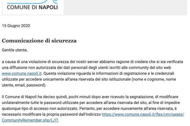 Attacco hacker sito Comune Napoli rubate password