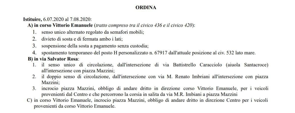 L'ordinanza 224 del Comune di Napoli