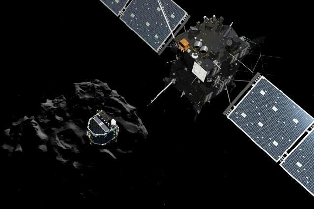 Rappresentazione artistica dello sgancio di Philae da Rosetta, mentre il lander si dirige sulla Cometa