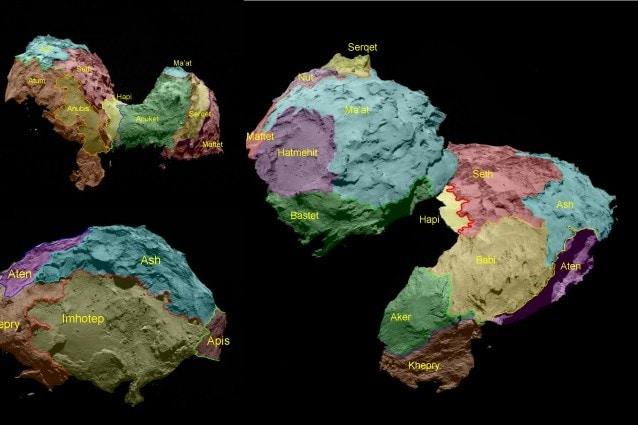 Le 19 regioni identificate sulla Cometa 67P/Churyumov–Gerasimenko (Credit: ESA/Rosetta/MPS for OSIRIS Team MPS/UPD/LAM/IAA/SSO/INTA/UPM/DASP/IDA)