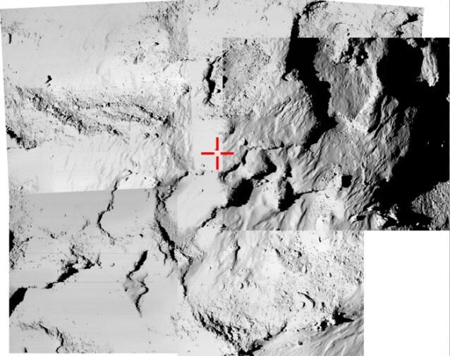 Una combinazione di cinque immagini realizzate con OSIRIS nel tentativo di identificare il punto preciso in cui è atterrato Philae realizzata lo scorso 12 novembre, quando Rosetta era a 12 chilometri dalla superficie della Cometa 67P/Churyumov–Gerasimenko (ESA/Rosetta/MPS for OSIRIS Team MPS/UPD/LAM/IAA/SSO/INTA/UPM/DASP/IDA)
