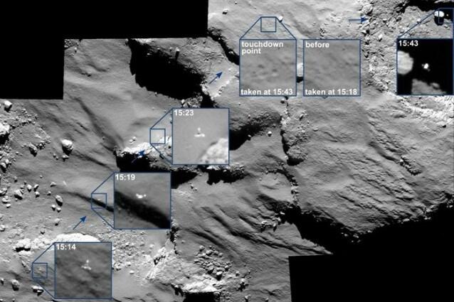 "Osiris, a bordo di Rosetta, fotografa i punti in cui ha avuto luogo il ""rimbalzo"" di Philae (Credit: ESA/Rosetta/MPS for OSIRIS Team MPS/UPD/LAM/IAA/SSO/INTA/UPM/DASP/IDA)"