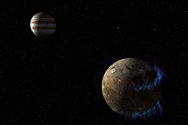 Rappresentazione artistica di Ganimede e, in lontananza, Giove (NASA/ESA)
