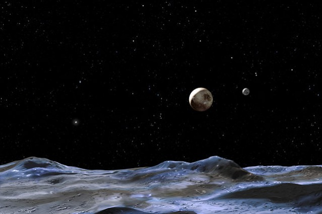 Plutone osservato dalla superficie di una delle sue Lune, in una rappresentazione artistica. Accanto, sulla destra, il satellite Caronte. Image Credit: NASA, ESA and G. Bacon (STScI)