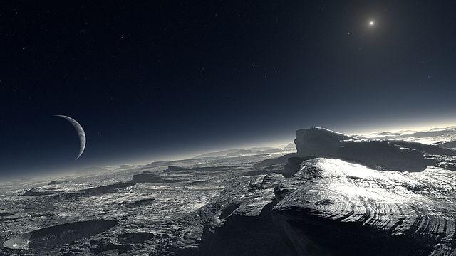 Rappresentazione artistica della superficie di Plutone, sulla base delle osservazioni dell'ESO.