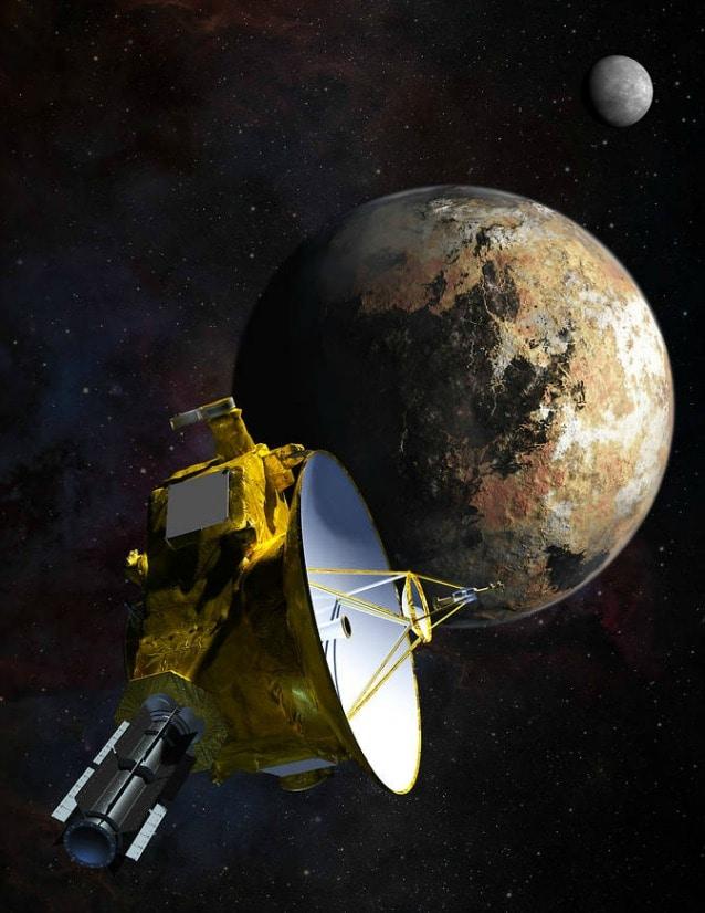 Rappresentazione artistica del prossimo avvicinamento di New Horizons a Plutone e Caronte (mage Credit: NASA/JHU APL/SwRI/Steve Gribben)