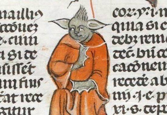 """Il """"monaco–Yoda"""" del manoscritto"""