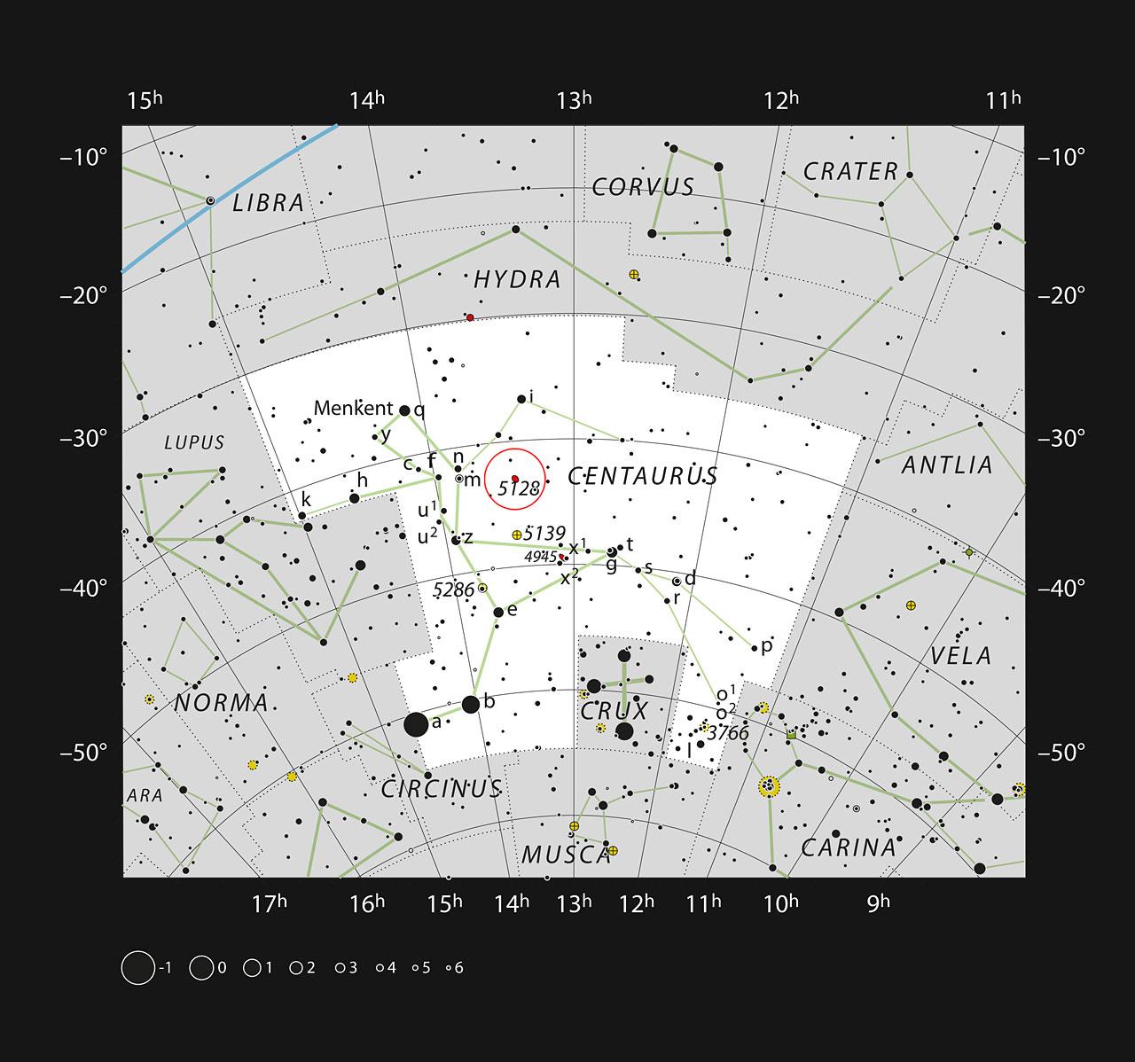 La galassia peculiare Centauro A (NGC 5128) nella costellazione del Centauro (Crediti: ESO, IAU and Sky & Telescope)