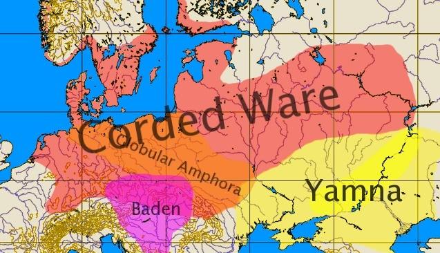 Areale della cultura di Jamna e della Cultura della Ceramica Cordata