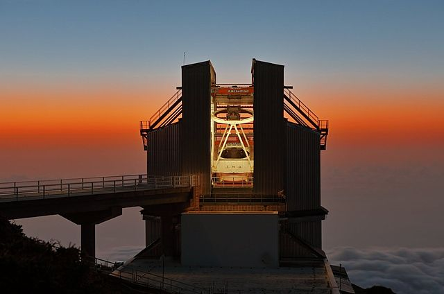 La cupola del Telescopio Nazionale Galileo presso l'isola di San Miguel de la Palma, Canarie