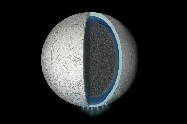Rappresentazione artistica di Encelado (Credits: NASA/JPL–Caltech)