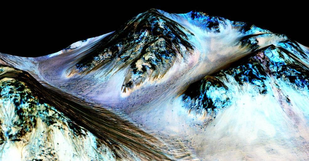 Uno dei siti dove è stata rilevata la potenziale presenza di acqua (Credits: NASA/JPL/University of Arizona)