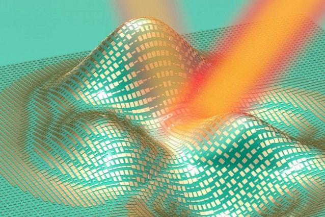 Illustrazione tridimensionale del mantello dell'invisibilità, con le sue nanostrutture in evidenza