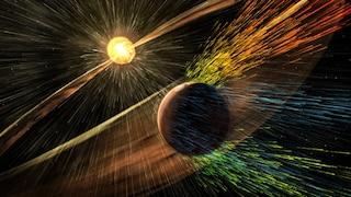 Come il vento solare sta strappando via l'atmosfera da Marte