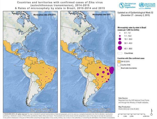 Confronto tra l'incidenza media della microcefalia sulle nascite tra il 2010–2014 e nel 2015 (PAHO–WHO)