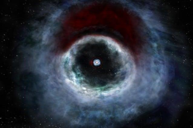 Rappresentazione artistica del sistema in formazione attorno alla stella binaria HD 142527 – Credit B. Saxton (NRAO/AUI/NSF)