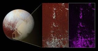 Ghiacciai di metano sulle montagne di Plutone