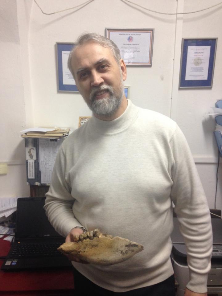 """Il paleontologo Andrey Shpanski con il teschio di """"unicorno siberiano"""" (Credit: Tomsk State University)"""