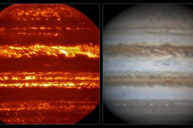 Un'immagine di Giove ripresa da VISIR, a sinistra, a lunghezze d'onda infrarosse confrontata con un'immagine amatoriale molto nitida in luce visibile presa più o meno nello stesso periodo, a destra. (Crediti: ESO/L.N. Fletcher/Damian Peach)