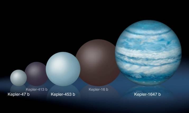 Il confronto con altri pianeti circumbinari individuati da Kepler mostra come Kepler–1647 sia sostanzialmente più grande dei suoi simili (Credits: Lynette Cook)