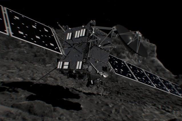 Rappresentazione artistica dell'impatto di Rosetta sulla cometa (Immagine ESA/ATG medialab)