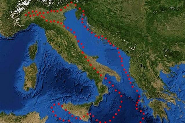 Movimento della placca adriatica verso i Balcani