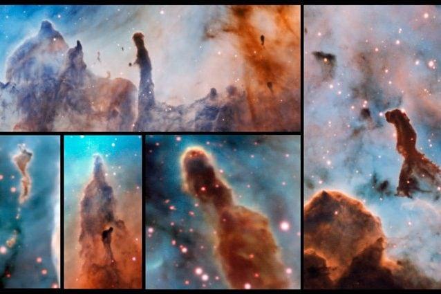 Immagine composita che mostra diversi pilastri all'interno della Nebulosa Carena (Crediti: ESO/A. McLeod)