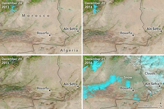 Le immagini del Sahara innevato scattate dal satellite della NASA