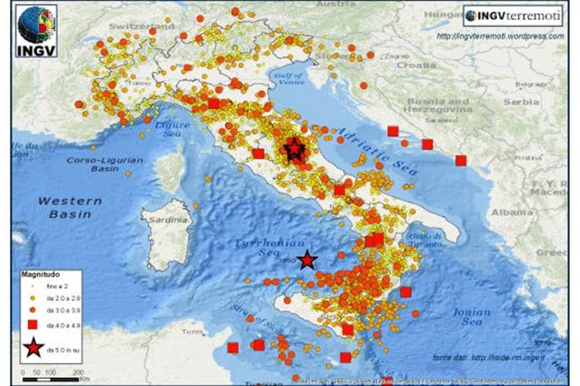 Eventi sismici nel 2016.