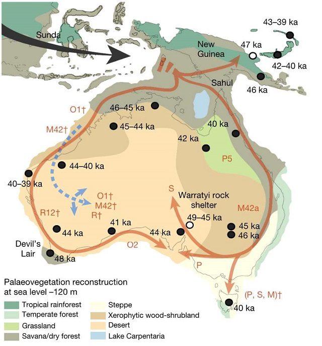 La distribuzione degli aborigeni una volta giunti in Australia