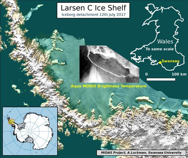 Il distacco dell'iceberg mostrato dall'immagine termica del satellite MODIS
