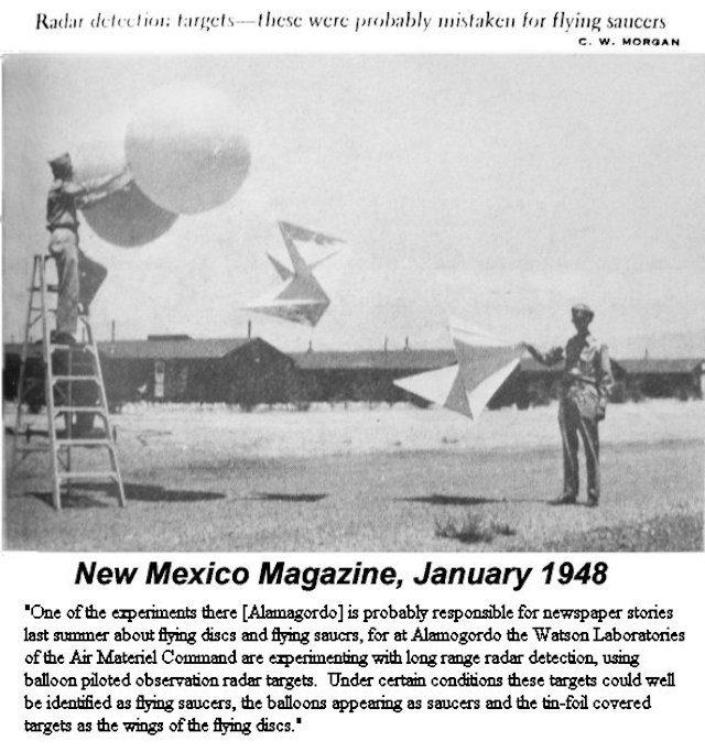 Esempio di palloni sonda che potrebbero essere stati utilizzati durante l'operazione Mogul. Credit: New Mexico Magazine.