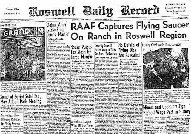 L'annuncio dell'Ufo–crash di Roswell. Foto da Wikipedia