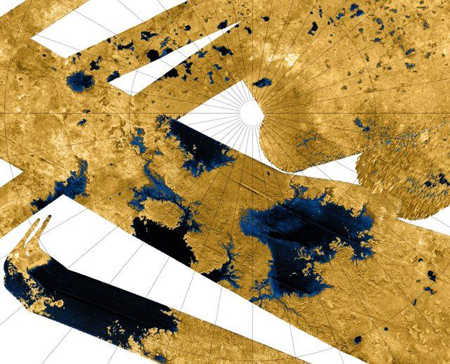 Mari e laghi di Titano al polo nord. Credit: NASA / JPL–Caltech / USGS