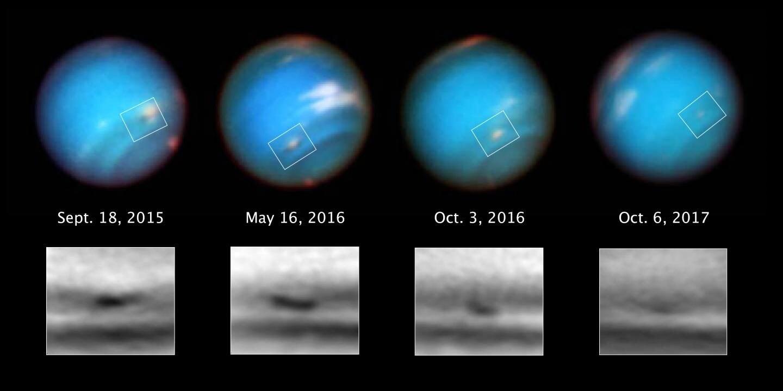 """La tempesta di Nettuno che sta """"morendo"""". Credit: NASA, ESA, and M.H. Wong and A.I. Hsu (UC Berkeley) Hubble/NASA/ESA"""