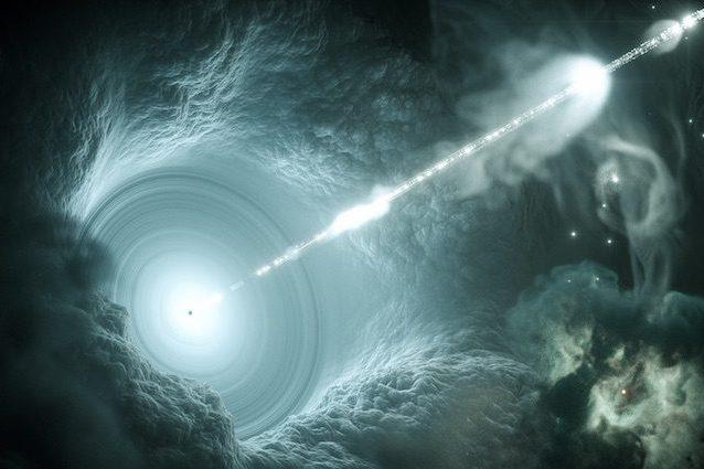 Rendering artistico di un nucleo galattico attivo. Il buco nero supermassiccio al centro del disco di accrescimento invia un getto di materia ad alta energia nello spazio. Crediti: DESY, Science Communication Lab
