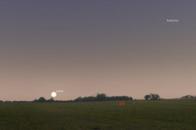 La luna sorgerà in questa posizione alle 20:26 circa