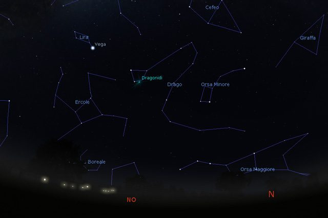 Ecco la zona del cielo da tenere sott'occhio: credit – Stellarium
