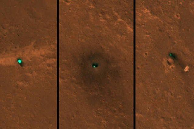 Il veicolo spaziale InSight della NASA, lo scudo termico e il suo paracadute immortalati il 6 e 11 dicembre dalla telecamera HiRISE a bordo della Mars Reconnaissance Orbiter della NASA.Credits: NASA/JPL–Caltech/University of Arizona