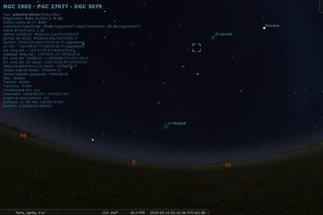 Posizione della galassia e della cometa. Credit: Stellarium