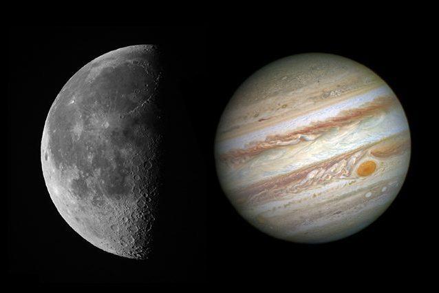 Credit: Andrea Centini (Luna) / NASA (Giove)