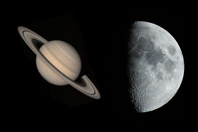 Credit: NASA (Saturno)/ Andrea Centini (Luna)