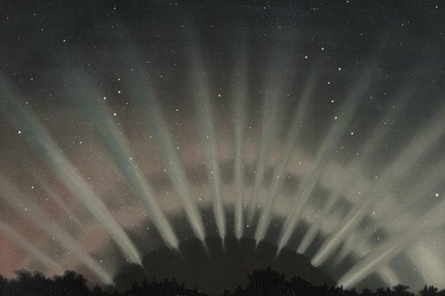 """Credit: Illustrazione intitolata """"Aurora Borealis come osservata l'1 marzo 1872 alle 9:25 p.m."""" da Etienne Leopold Trouvelot (The New York Public Library Digital Collections)"""