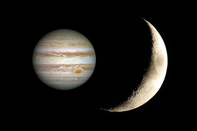 Credit: Giove/Hubble – Luna/Andrea Centini