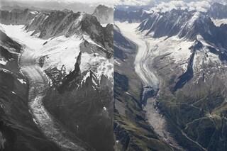 Ghiacciai del Monte Bianco, scatti drammatici mostrano come sono cambiati in 100 anni a causa nostra