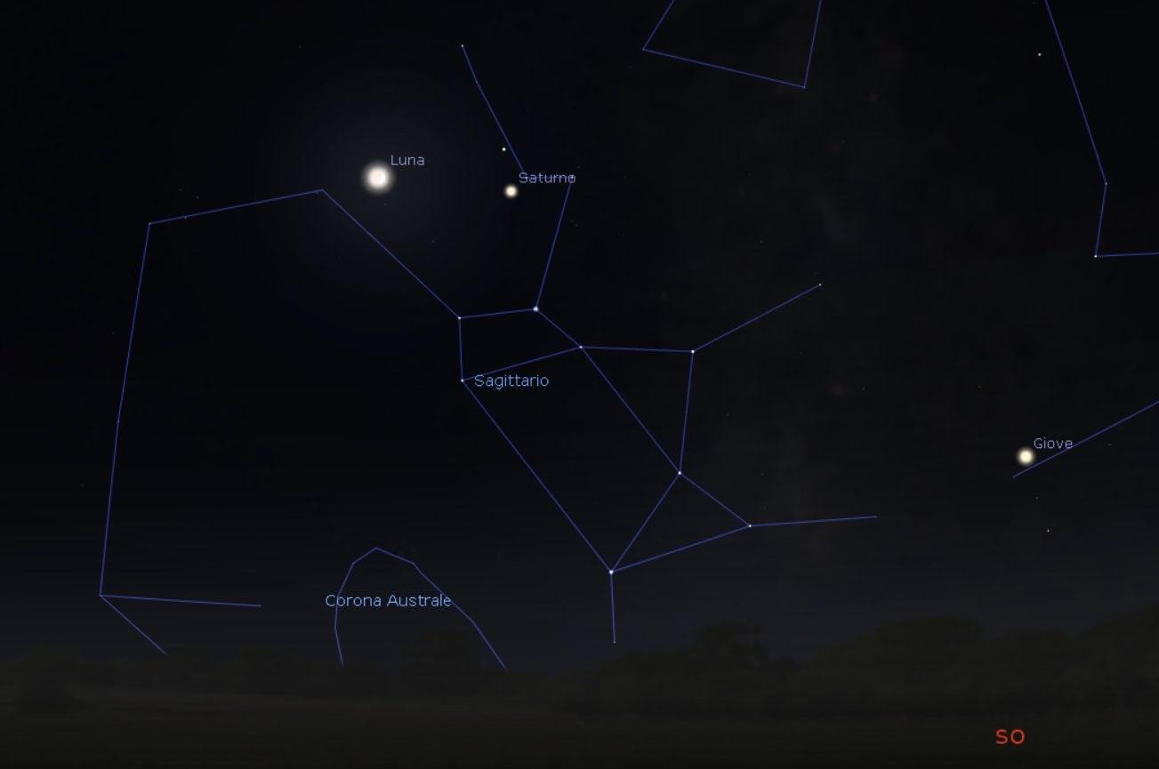 Congiunzione astrale Luna–Saturno. Credit: Stellarium