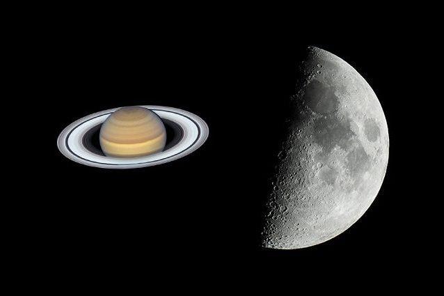 Credit: Saturno/NASA–Hubble – Luna/Andrea Centini